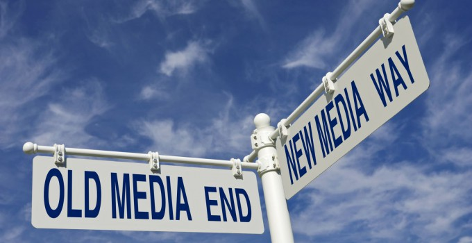 old media end and new media way intersection road sign, media change concept